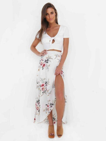 Floral Maxi Skirt With Split - KOLCHA COMPANY