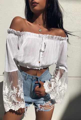 White Off Shoulder Lace Crop Top - KOLCHA COMPANY