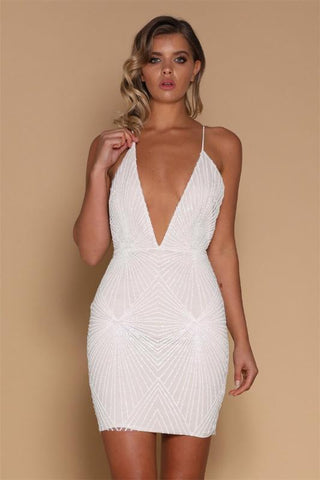 Plunge V Backless Sequins Dress - KOLCHA COMPANY