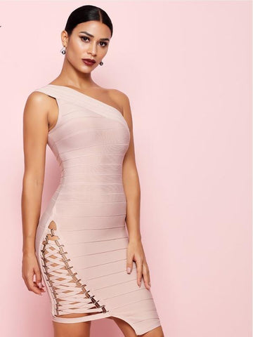 One Shoulder Bodycon Bandage Dress - KOLCHA COMPANY
