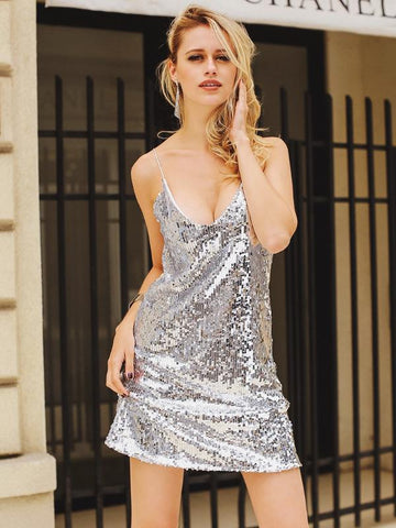 V Neck Sequinned Mini Dress - KOLCHA COMPANY