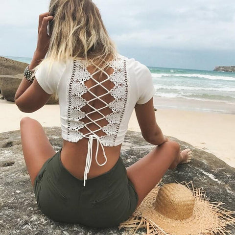 Backless Lace Up Crop Top - KOLCHA COMPANY