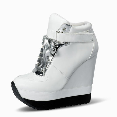 Two Tone Wedge Sneakers - KOLCHA COMPANY