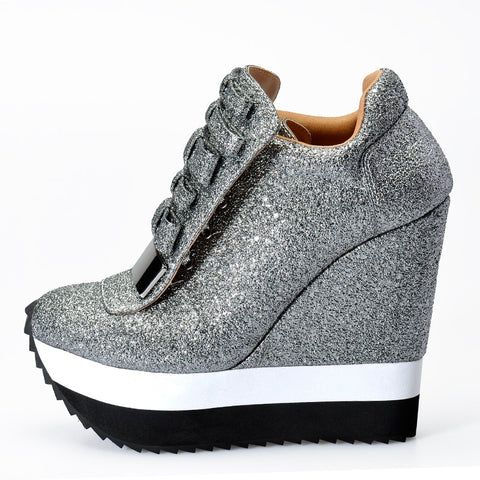 Metallic Wedge Sneakers - KOLCHA COMPANY