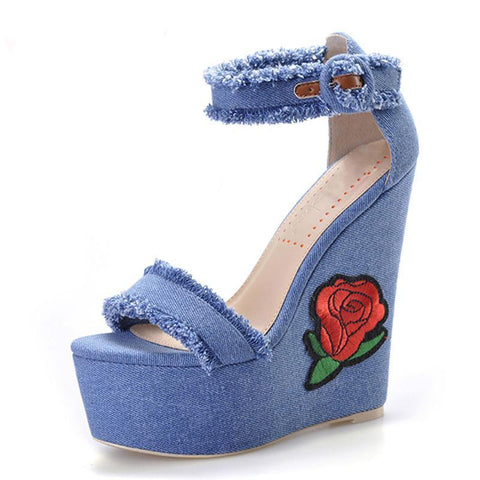 Denim Flower Embroidered Wedges - KOLCHA COMPANY