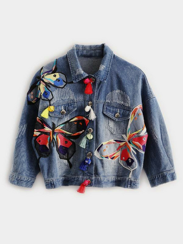 Butterfly Embroidered Denim Jacket With Patchwork Design - KOLCHA COMPANY
