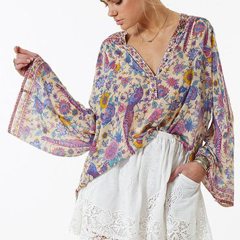 Boho Vintage Floral Bird Print Top As Picture / L tops  KOLCHA COMPANY