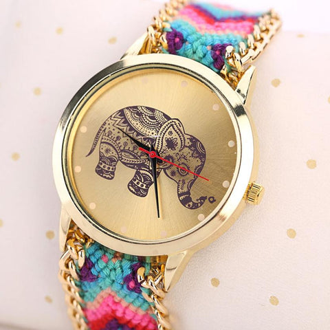 Boho Style Elephant Weaved Rope Band Watch - KOLCHA COMPANY
