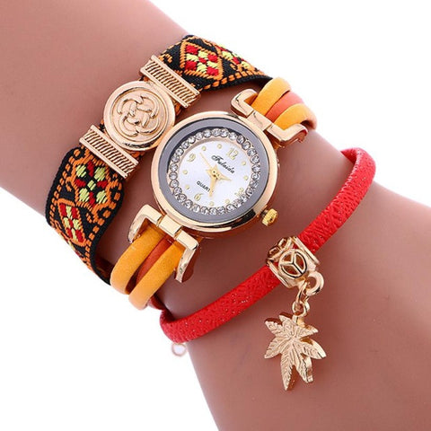 Boho Style Watch With Leaves Pendant Leather Bracelet Wristwatch - KOLCHA COMPANY