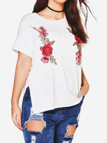 CURVIBES Rose Embroidery Basic T-Shirt With Split Side Detail - KOLCHA COMPANY