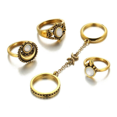 5 piece Bohemian Style Sun and Moon Stone Ring Set Gold jewelry  KOLCHA COMPANY