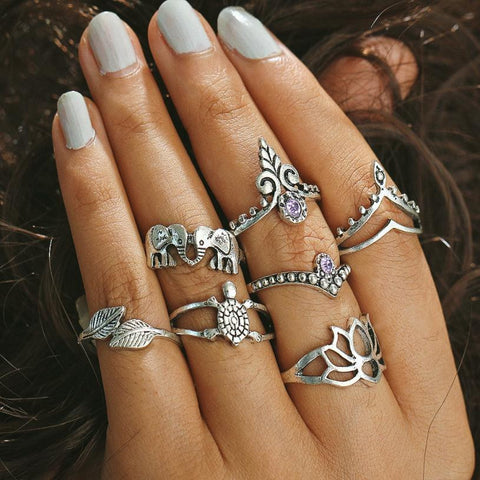 7 piece 'Kissing Elephants' Ethnic Midi Ring Set  jewelry  KOLCHA COMPANY