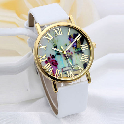 Floral Vases Wrist Watch with Roman Numeral dial - KOLCHA COMPANY