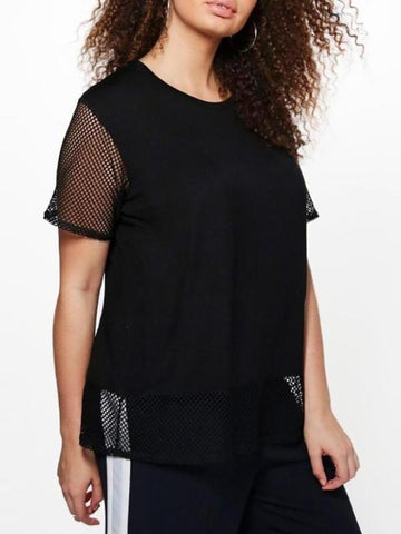 CURVIBES Crew-Neck Mesh Patchwork T-shirt - KOLCHA COMPANY