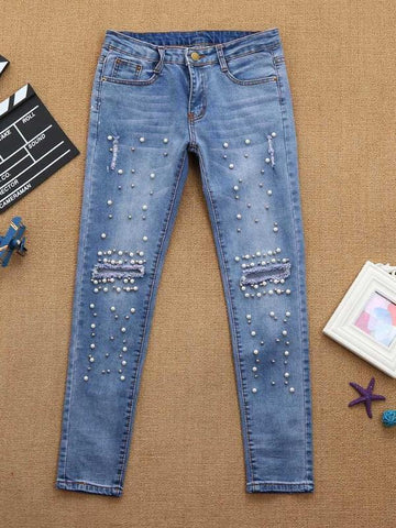 Embellished Ripped Jeans - KOLCHA COMPANY
