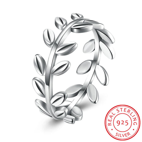 925 Sterling Silver Leaf Ring platinum / 8 jewelry  KOLCHA COMPANY