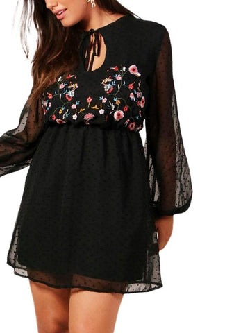 CURVIBES Semi-sheer Mesh Floral Embroidery Dress With Lantern Sleeve - KOLCHA COMPANY