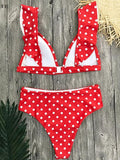 High Waist Ruffle Polka Dot Bikini Swimsuit Set - KOLCHA COMPANY