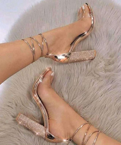 Ankle Strap Diamante High Heels Gold / 9 shoes  KOLCHA COMPANY
