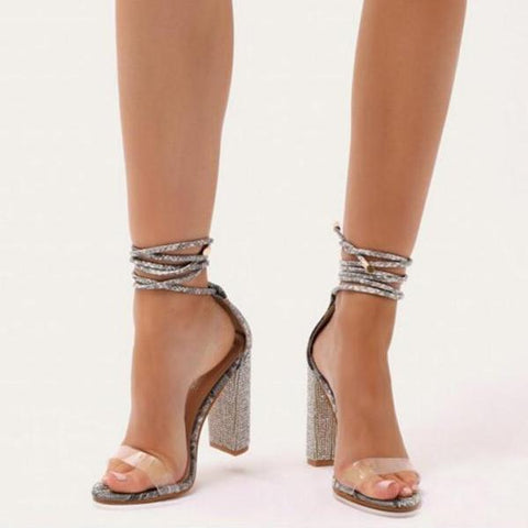 Ankle Strap Diamante High Heels  shoes  KOLCHA COMPANY