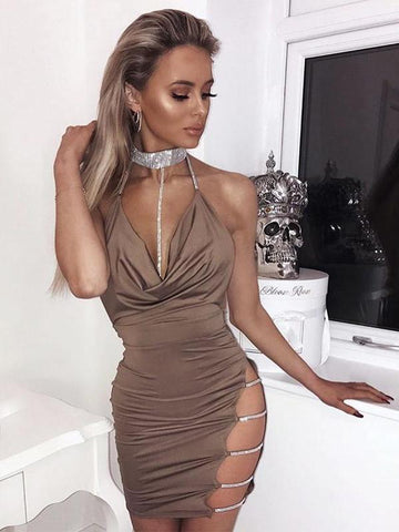 Diamante Choker Backless Mini Party Dress - KOLCHA COMPANY
