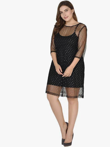 CURVIBES Speckle Sheer Mesh Overlay Dress - KOLCHA COMPANY