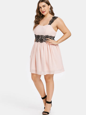 CURVIBES Sweetheart Neckline Lace Embellished Mini Dress - KOLCHA COMPANY