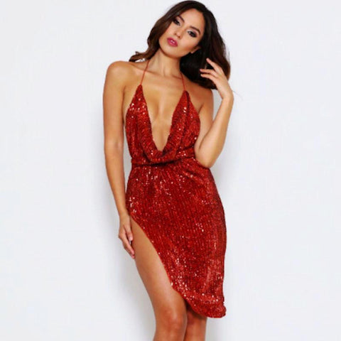 Halter Sequinned Backless Mini Dress - KOLCHA COMPANY