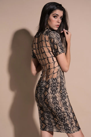 Snake Skin Print Bodycon Mini Dress - KOLCHA COMPANY