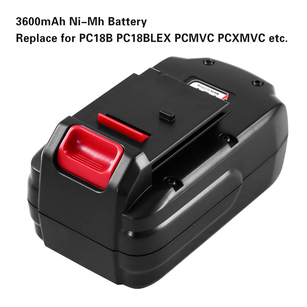 Porter Cable 18V PC18BL Battery Replacement l Upgrated 3.6Ah Ni-MH Battery | PC18BLX PC18B-2 PCC489N PCMVC PCXMVC Battery | back