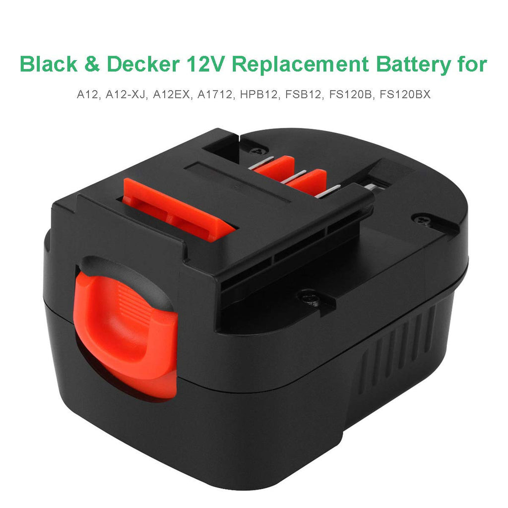 Upgraded 12V 3600mAh Replacement for Black and Decker HBP12 NI-MH Battery | A1712 FS120B FSB12 HPB12 A12 A12-XJ A12EX FS120B FSB12 FS120BX Battery