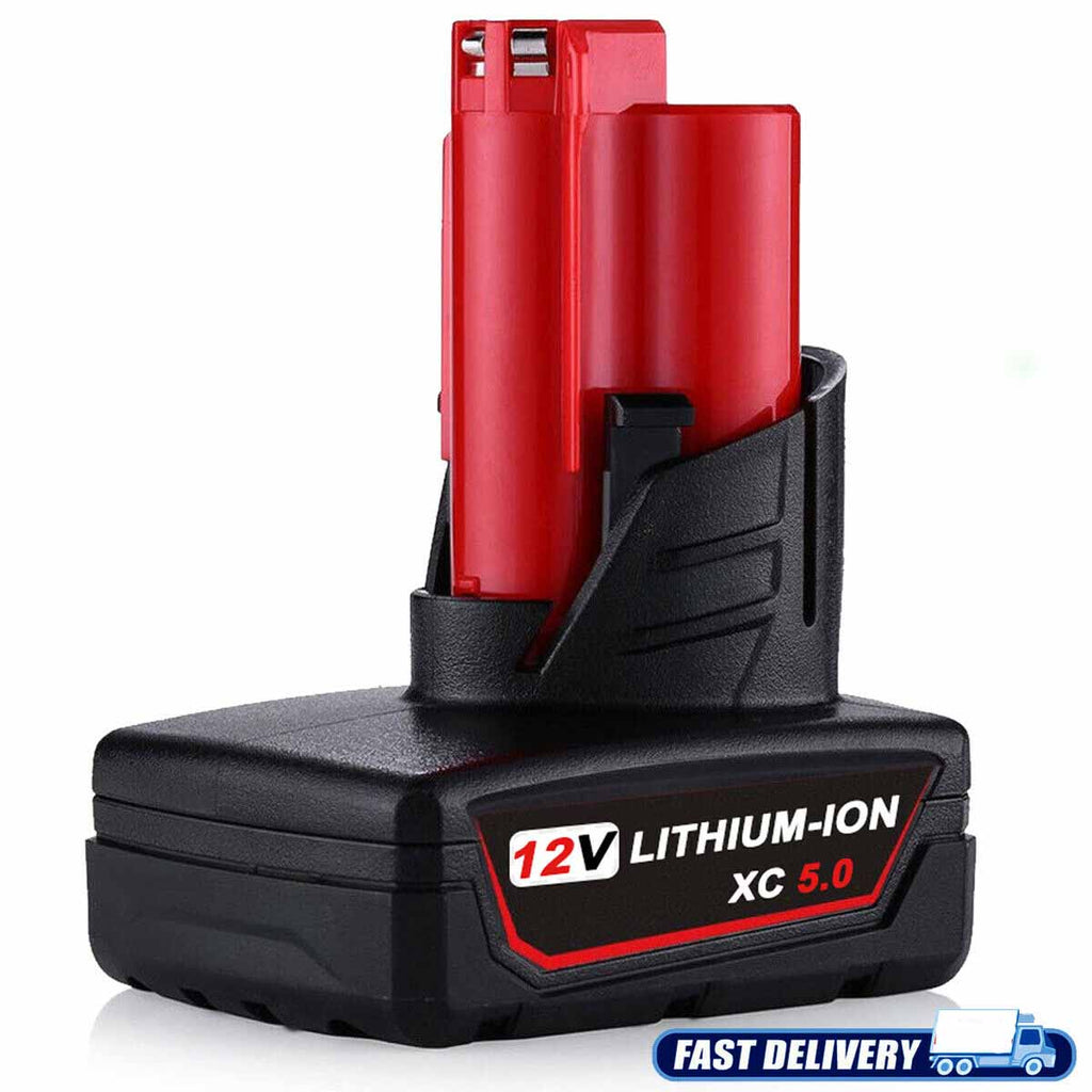 Milwaukee M12 12V Battery Replacement 5.0Ah Li-ion Battery | side