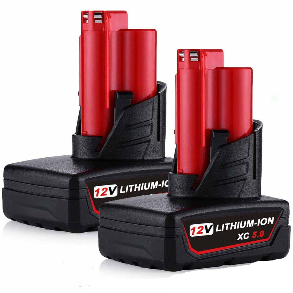 For Milwaukee M12 12V Battery Replacement | 5.0Ah Li-ion Battery 2 Pack
