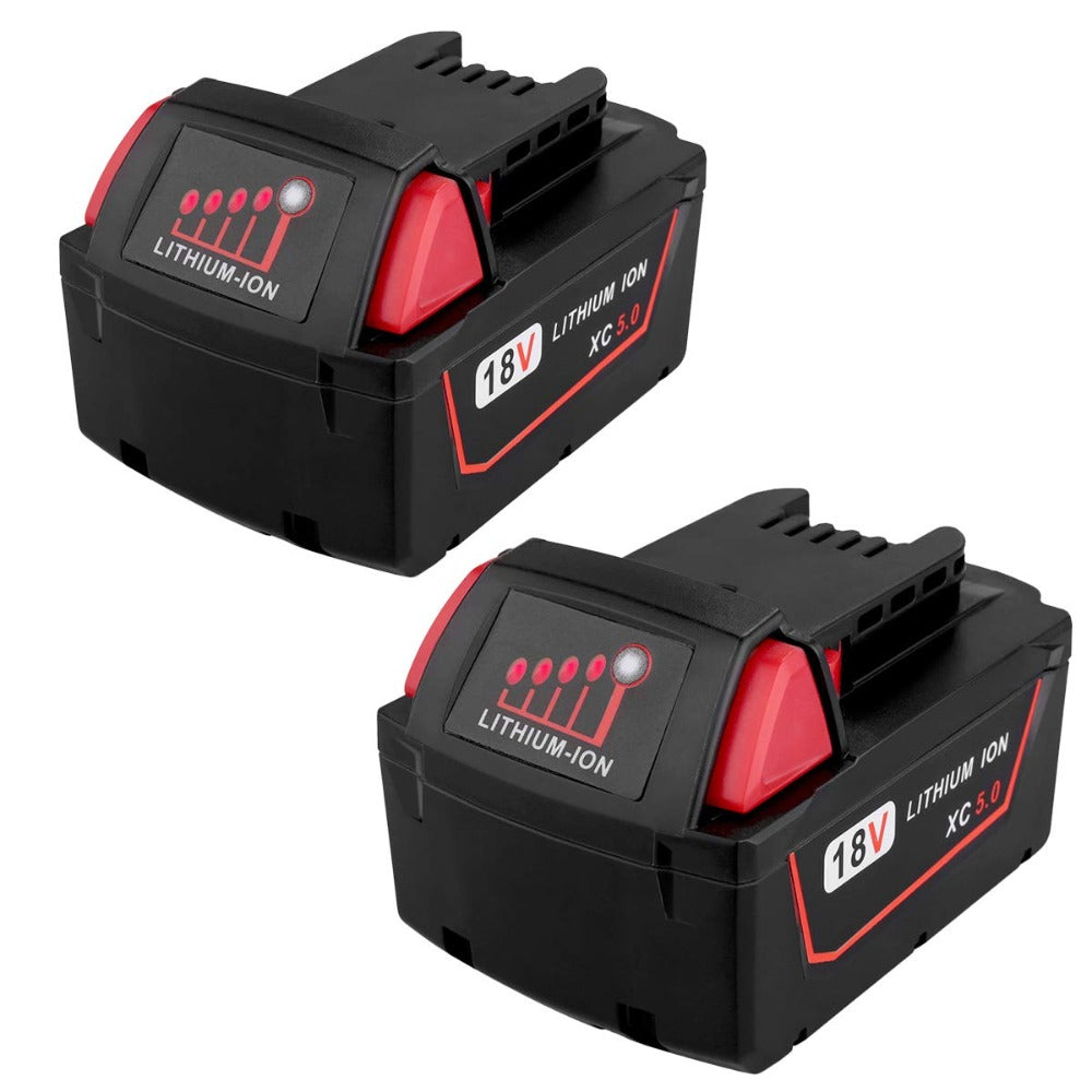 18V 5.0Ah M18 Battery for Milwaukee 48-11-1850, Replacement for Milwaukee M18 Cordless Power Tools 18V XC Lithium Battery 48-11-1852 48-11-1850 48-11-1840 2 Pack