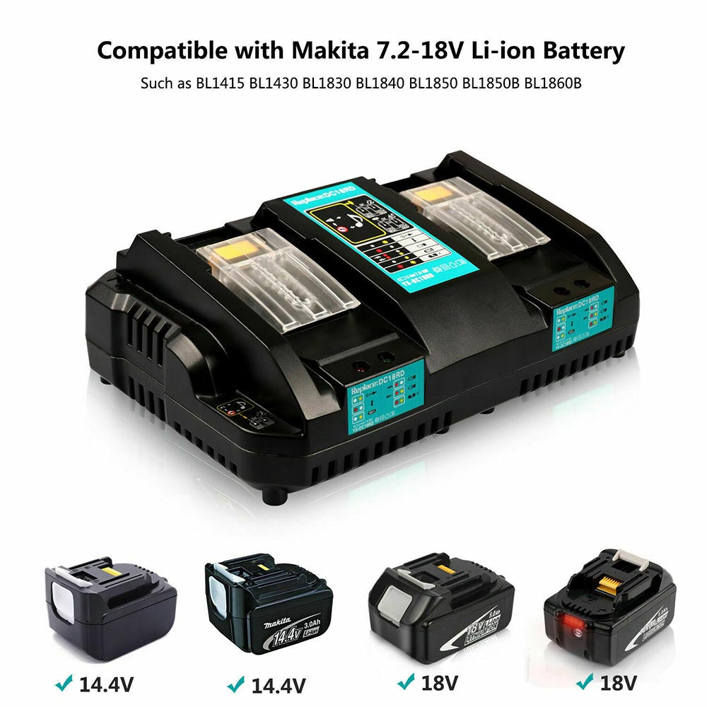 For Makita 18V Battery Charger | DC18RD Dual Port Rapid Charger for BL1850 BL1830 Lithium-Ion Battery