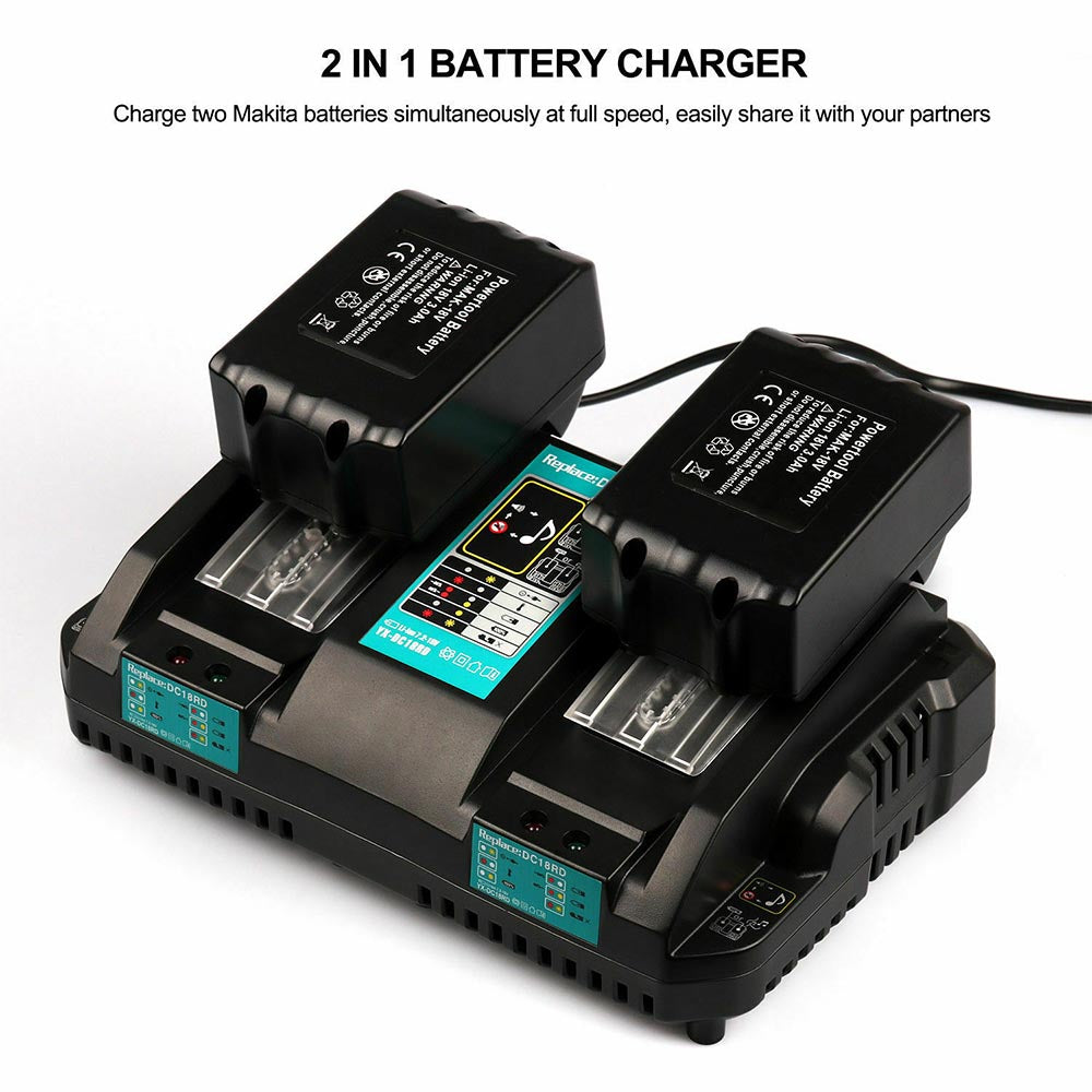 For Makita 18V Battery Charger | DC18RD Dual Port Rapid Charger for on 12 volt battery charger diagram, battery charger installation, battery charger diode plate, battery charging circuit diagram, battery generator diagram, battery charger rectifier diode, 24 volt battery charger diagram, battery charger wire diagram, battery charger flow diagram, how does a battery work diagram, marquette battery charger diagram, car battery diagram, schumacher se 82 6 diagram, simple thermocouple diagram, battery charger parts list, battery charger circuit, golf cart 36 volt ezgo wiring diagram, iphone 5 charger cable wire diagram, battery charger transformer wiring diagram, battery diagram resistance,
