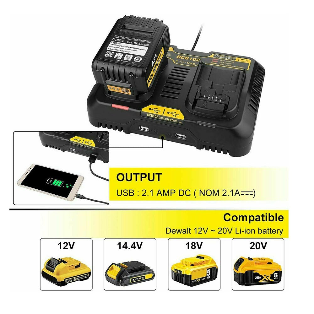FOR DEWALT BATTERY CHARGER | DCB102 12V & 20V MAX Li-ion Battery Charger | WITH DUAL PORT