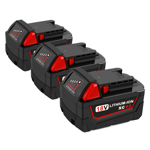 For Milwaukee M18 18V Battery Replacement 6.0Ah Li-ion Battery 3Pack
