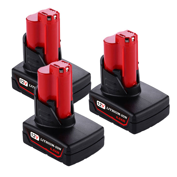 For Milwaukee M12 Battery Replacement | Milwaukee 12V 6.0Ah Li-ion Battery 3 Pack