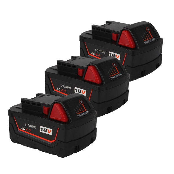 For Milwaukee 18V XC Battery Replacement | 4.0Ah Li-Ion Battery 3 Pack
