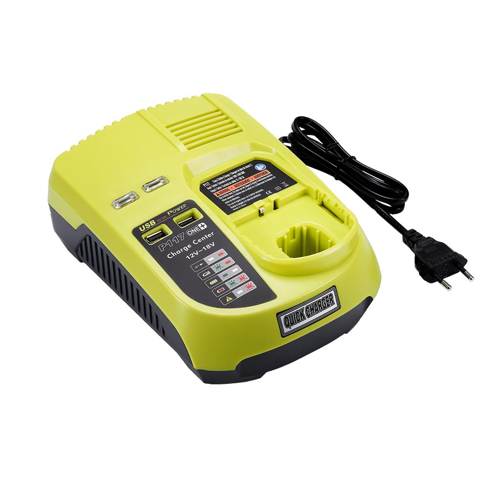 For Ryobi 18V One Plus Lithium Battery Charger P117 | P104 12V-18V Ni-cd & Ni-Mh Battery Charger