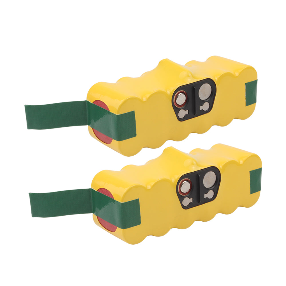 iRobot Roomba 14.4V Battery Replacement | High Capacity NI-MH 2 Pack Yellow | back