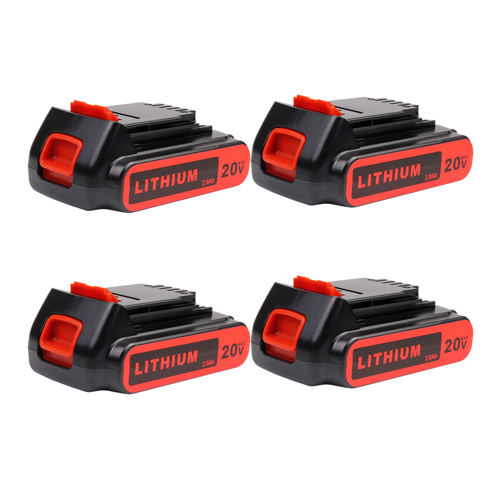 For Black and Decker 20V Battery Replacement | LBXR20 2.0Ah Li-ion Battery 4 Pack