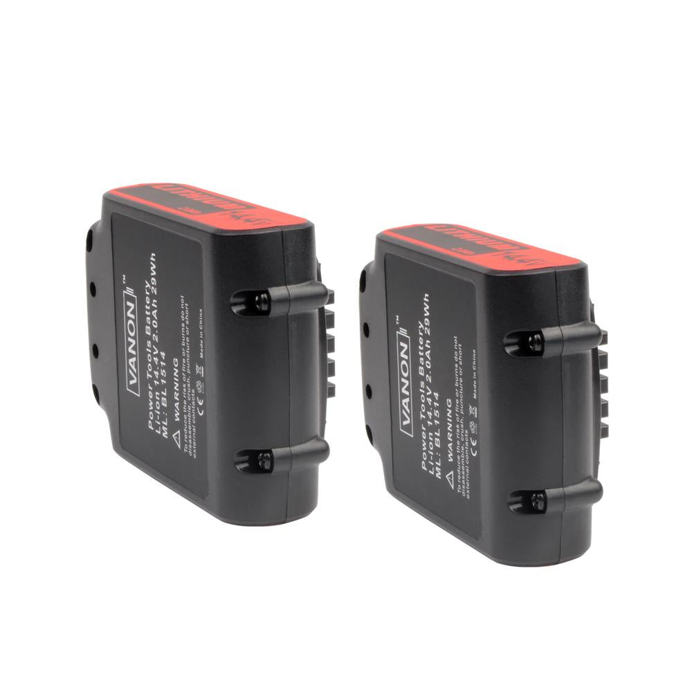 2x For Black and Decker 14.4V BL1514 Battery Replacement | 2.0Ah Li-ion Battery - Vanonbattery