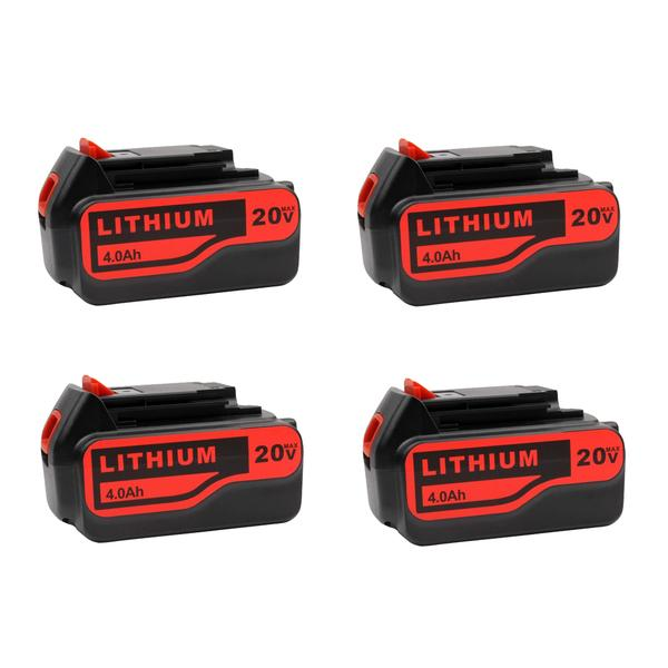 For Black and Decker 20V Battery Replacement | LB20 LBX20 LBXR20 4.0Ah Lithium-Ion Battery 4 Pack