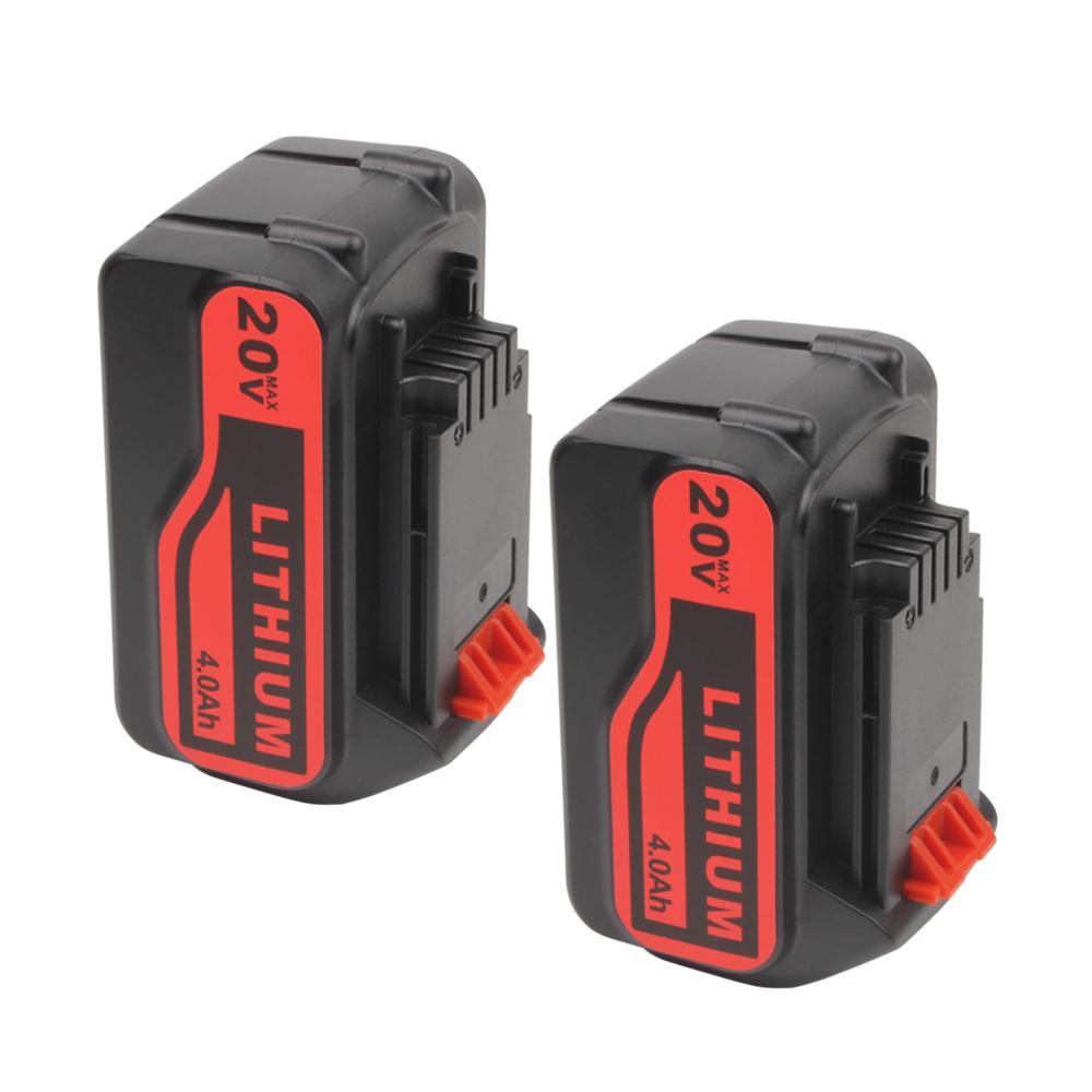 2x For Black and Decker 20V LB20 LBX20 LBXR20 Battery Replacement | 4.0Ah Lithium-Ion Battery - Vanonbattery