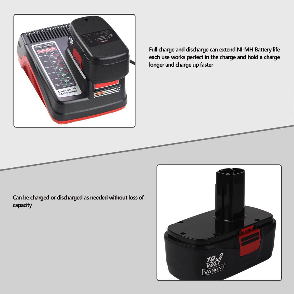 For Craftsman 19.2V Battery Replacement | 130279005 3.0Ah Black Ni-CD Battery - Vanonbattery