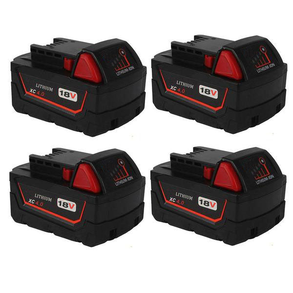 Milwaukee 18V Battery Replacement | M18 4.0Ah Li-Ion Battery | four