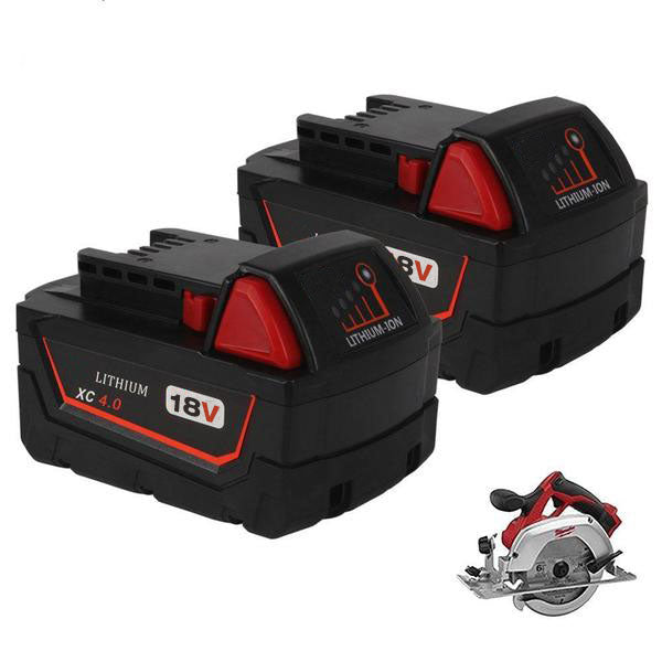 For Milwaukee M18 Battery Replacement | 18V XC 4.0 Ah Li-Ion Battery 2 Pack