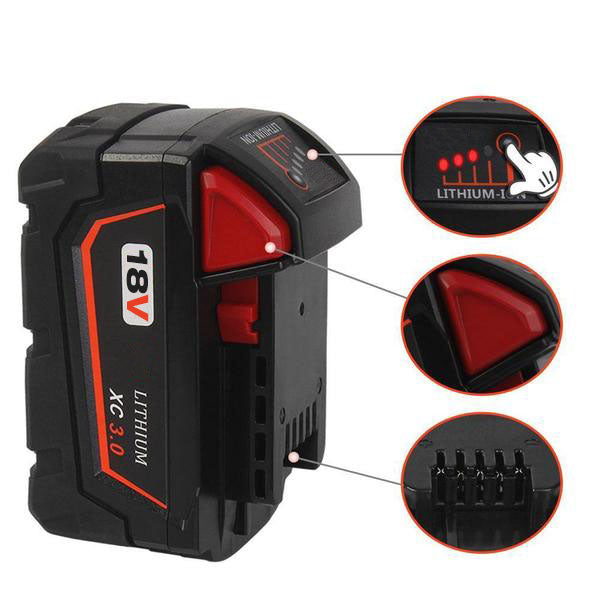 For Milwaukee M18 Battery Replacement | For Milwaukee 18V 3.0Ah Li-Ion Battery 2 Pack